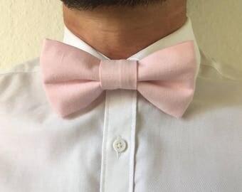Pale pink cotton adult bowtie adjustable / bow tie