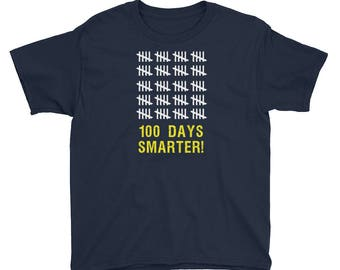 Youth 100 Days Smarter Tally 100th Day of School T-Shirt students teachers gift educators school milestone celebration education day 100