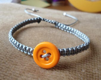 Orange macramé gray button bracelet
