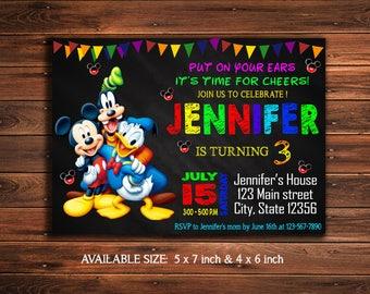 Mickey Mouse Invitation - Donald Duck Birthday Invitation - Goofy Party - Disney Invite Party - Mickey Mouse Printable