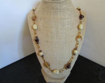 Brown,Beige, Gold Glass Beaded Necklace