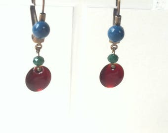 Small Stud Earrings, Burgundy and teal