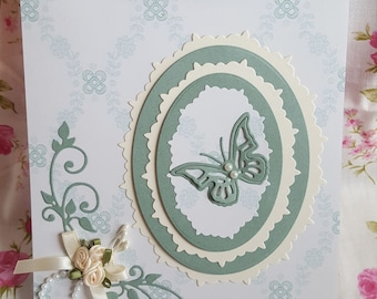 Ladies Birthday card  Ribbon and Butterfly