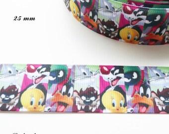Ribbon grosgrain Bugs Bunny, Daffy Duck, Tweety & Sylvester 25 mm sold by 50 cm