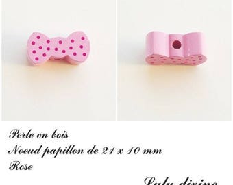 Wood 21 x 10 mm bead, Pearl flat bow tie: pink