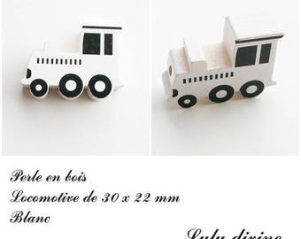 30 x 22 mm wood bead, Pearl flat Train / Locomotive: white