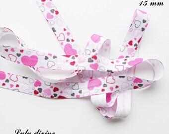 White elastic Ribbon heart pink black fuchsia light 15 mm sold by 50 cm