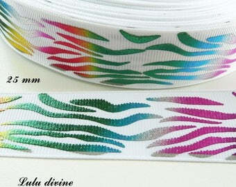 White grosgrain Ribbon Zebra multicolor effect 25 mm sold by 50 cm