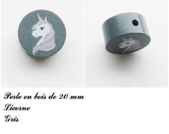 20 mm wooden bead, Pearl flat Unicorn: gray