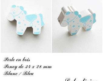 34 x 28 mm wood bead, Pearl flat Pony: white / blue