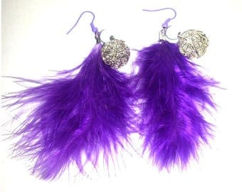 Earrings purple feathers and silver beads