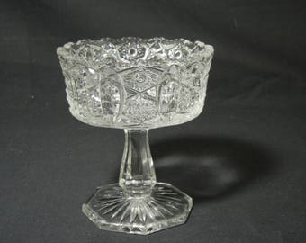 EAPG Quintec Pattern Compote by McKee Glass