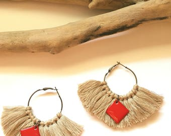 Elegant hoops & Camel tassels! Large earrings, tassel pom pom pom pom earrings fancy Bohemian style