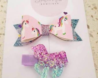 Unicorn hair clip set