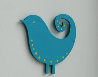 Handmade Turquoise bird magnet