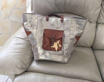 Gold large linen tote bag