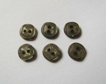 Set of 6 Mini plain square buttons Green Khaki 8 mm