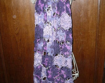 scarf crochet angora violet-purple flowers