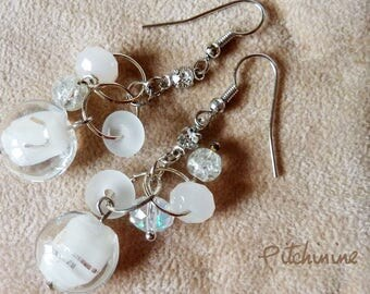 Earrings - sterling silver - white matte to shiny beads