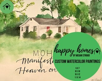 custom home watercolor painting - personalized, calligraphy, art, landscape, trees, housewarming gift, realtor gift