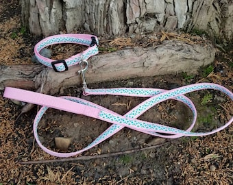 "Adjustable dog collar, Aztec dog collar, cute dog coat, dog collar, pink dog collar, small dog collar, medium dog collar, dog leash, 3/4"""