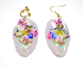 Bead embroidered flower dangle  earrings  ear wires ear clips -flora-