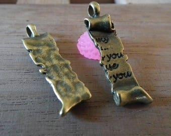 ♥ 6pces plated antique love charm bronze 30mm♥