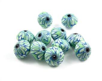 X 10 beads fimo green 13mm saucer
