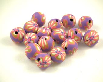 X 10 pearls 8mm purple polymer clay