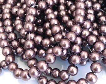 X 50 pearls 6MM purple dark