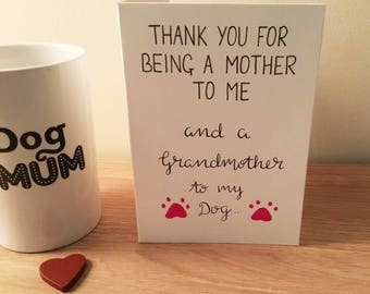 Mother's day card, grandmother card, mothers day, dog owner, grandmother to dog card, Mother's Day, funny mothers day card, funny card
