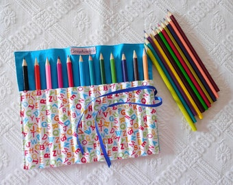 bag made with colored pencils to wrap.