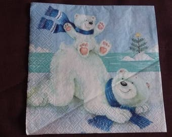 Bear on ice n79 napkin