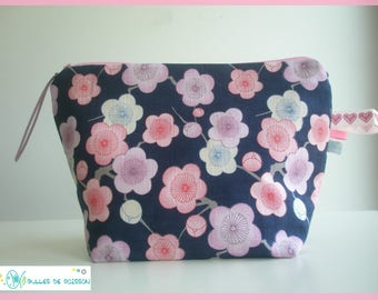 "toiletry bag, zippered bag ""Japanese flowers"""