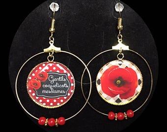 """""""Nice poppies ladies"""" cabochon earrings"""