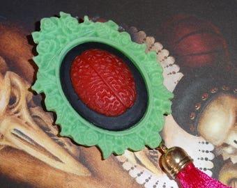 Headache Strawberry: Green brooch