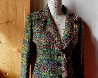 Style sewing tweed jacket Plaid multi color green dominant