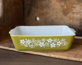 Vintage Pyrex 503-B Spring Blossom Green - Crazy Daisy Refrigerator Dish