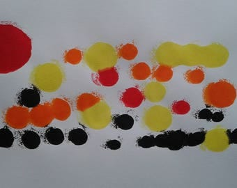 Multicolored acrylic modern painting on a white background