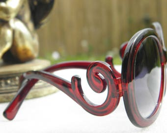 Lunettes de soleil retro vintage branches arabesques couleur marron bordeaux mode retro vintage made in France