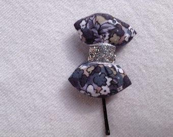 BARRETTE with knot CAPITONNE grey liberty fabric