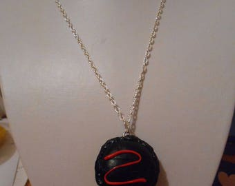 """macaroon"" black polymer clay pendant necklace"