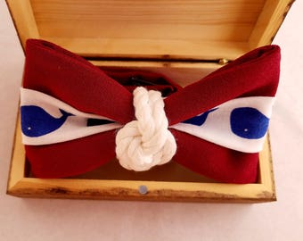 Nautical  Casual Red  Bow Tie with Whales