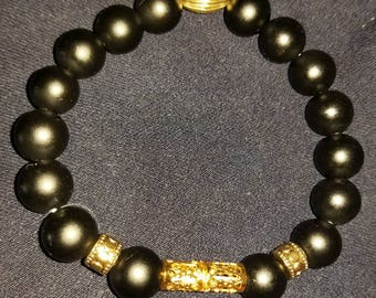 Black matte beaded with gold beaded