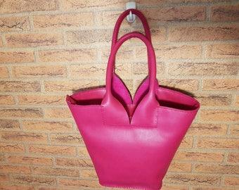 Pink genuine leather bag. Lady handbag shoulder bag basket.Hand made bag!