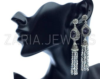 Druzy gem and swarovski crystal tassel fringe earrings
