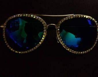 Sunglasses, Festival Glasses, Burning Man,  Rhinestone AVIATOR sunglasses, goggles, steampunk costume, unicorn goggles, mask