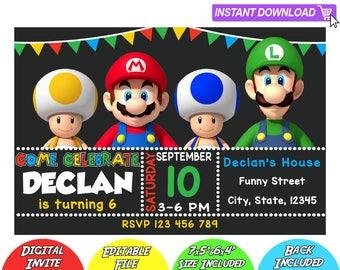 SALE 80% OFF: Mario Bros Invitation, Mario Bros Instant Download Invitation, Mario Bros Invitations, Mario Bros Birthday Invitation, Mario