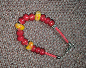 Red and Orange Fire Bead Bracelet