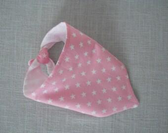 anti-bavouilles bandana bib pink stars white